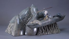 Chhem Neang Inuit Stone Whaling Vessel Sculpture