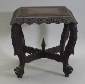 Indian Mughal Carved Wood Table