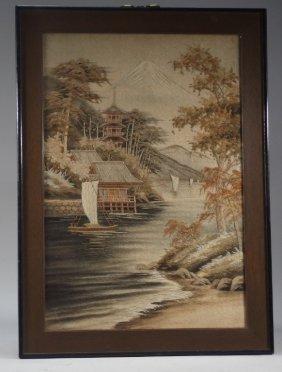 Fine Japanese Silk Embroidery Of Mt Fuji