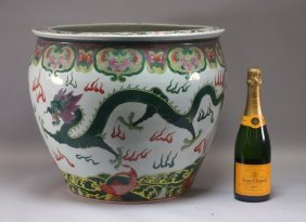 Chinese Famille Verte Porcelain Dragon Jardiniere