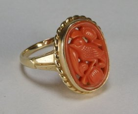 Chinese Signed 14kt Gold & Coral Ring