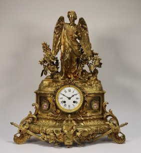Ad Mougin French Gilt Bronze Angel Mantle Clock