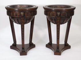 Pair Carved Mahogany Fern Stands Planters