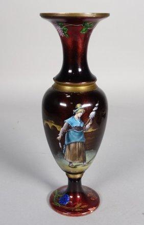 French Limoges Enamel Copper Vase