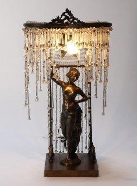 Art Nouveau Bronze Figural Woman & Crystal Lamp