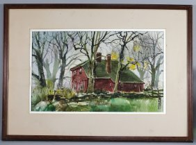 W. Spencer Crooks Cottage Landscape Painting