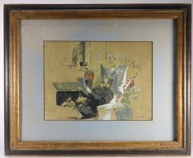 Edouard Vuillard Colored Lithograph Of Man