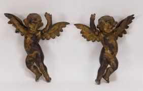 Pair Italian Carved Gilt Wood Putti Angels