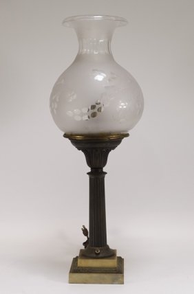 American Gilt Brass Marble Tall Astral Lamp