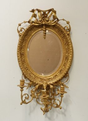 European Oval Carved Gilt Mirror W Candle Sticks