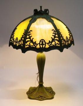 American Art Nouveau Green Slag Glass Lamp
