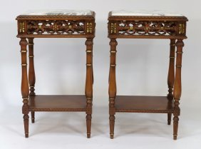 Pr French Marble Top Side Table Stands