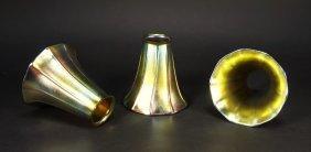 3 Steuben Aurene Art Glass Fluted Trumpet Shades