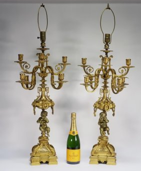 Pr French Gilt Bronze Cherub Candelabra Lamps