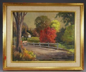 American Impressionist Autumn Painting By Furlong