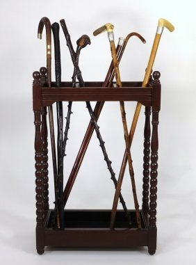 Estate Walking Stick Cane Grouping With Stand Rack