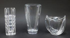 3 Pc Tiffany & Co Orrefors & Crystal Vase Lot