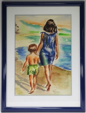 Domenico Riccitelli Woman & Child Wc Painting