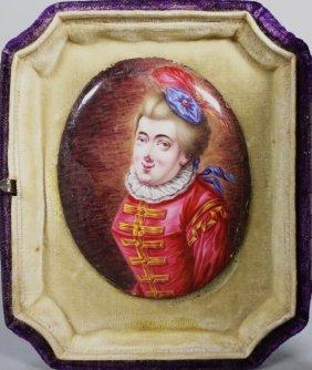 French Limoges Copper Enamel Portrait Plaque