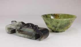Chinese Jade Cup & Chilong Belt Hook
