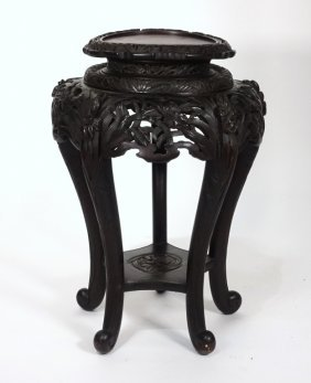 Chinese Carved Hardwood Iris Flower Table
