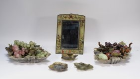 Chinese Soapstone Jade Mirror Fruit Bowl Grouping