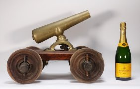 Rugged Brass Starter Signal Cannon On Wood Base