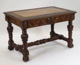 Rj Horner Walnut Lion Head Desk Library Table