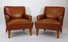 Pair Modern Leather Pub Chairs