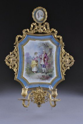 A S�VRES STYLE PORCELAIN AND GILT BRONZE TWO-LIGHT W