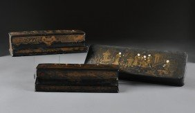 A GROUP OF THREE ANTIQUE CHINESE PARCEL GILT BLACK L