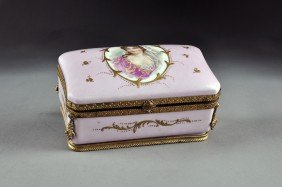 A S�VRES STYLE GILT METAL MOUNTED PARCEL GILT PINK