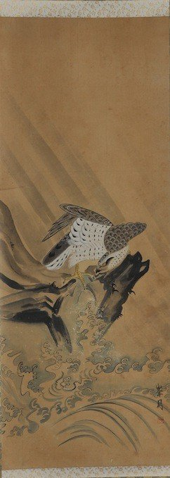 A JAPANESE WATERCOLOR ON PAPER SCROLL OF A HAWK, 20
