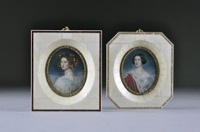 A PAIR OF ANTIQUE GERMAN IVORY PORTRAIT MINIATURES,