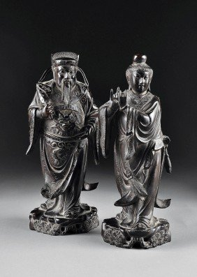 TWO CHINESE CARVED ZITAN FIGURES OF IMMORTALS, 20T