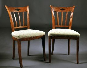 A PAIR OF BALTIC NEOCLASSICAL BRASS INLAID CARVED