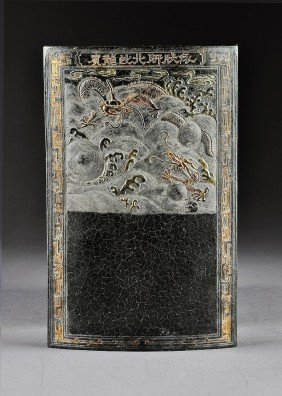 A VINTAGE CHINESE PARCEL GILT AND POLYCHROME DETAI