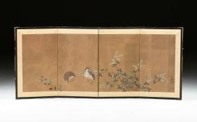 A JAPANESE FOUR PANEL TABLE SCREEN, 20TH CENTURY,
