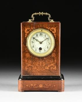 A VICTORIAN SATINWOOD INLAID ROSEWOOD MANTLE CLOCK,