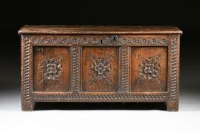 An English William And Mary Carved Oak Coffer, Circa