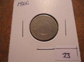 1866 Shield Nickel With Virdigris
