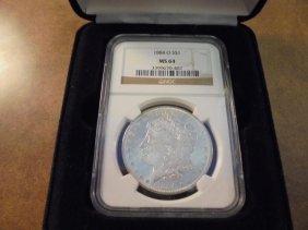 1884-o Morgan Silver Dollar Ngc Ms64 Slab In Nice Case