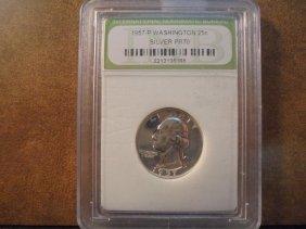 1957 Washington Silver Quarter Proof Inb Slab