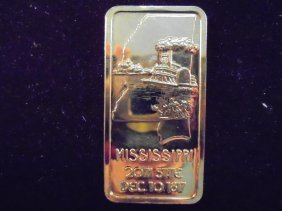 1 Oz. 24kt Gold Plated .999 Silver Ingot Mississippi