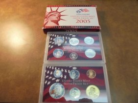 2005 Us Silver Proof Set (with Box) Both Cases Have
