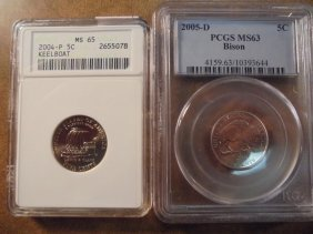 2 Jefferson Nickel Slabs See Description 2004-p