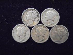 5 Assorted Mercury Dimes
