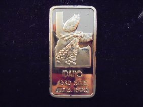 24kt Gold Plated 1 Oz. Sterling Silver Ingot Idaho