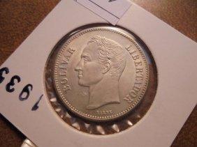 1935 Venezuela Silver 2 Bolivars Unc