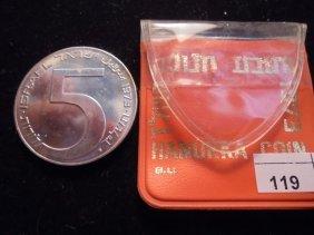 1973 Israel Silver 5 Lirot Proof Original Mint